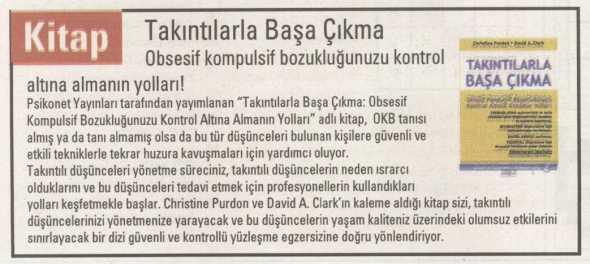 Takıntılarla Başa Çıkma - Cumhuriyet Bilim Teknik Dergisi - 16 Ağustos 2013
