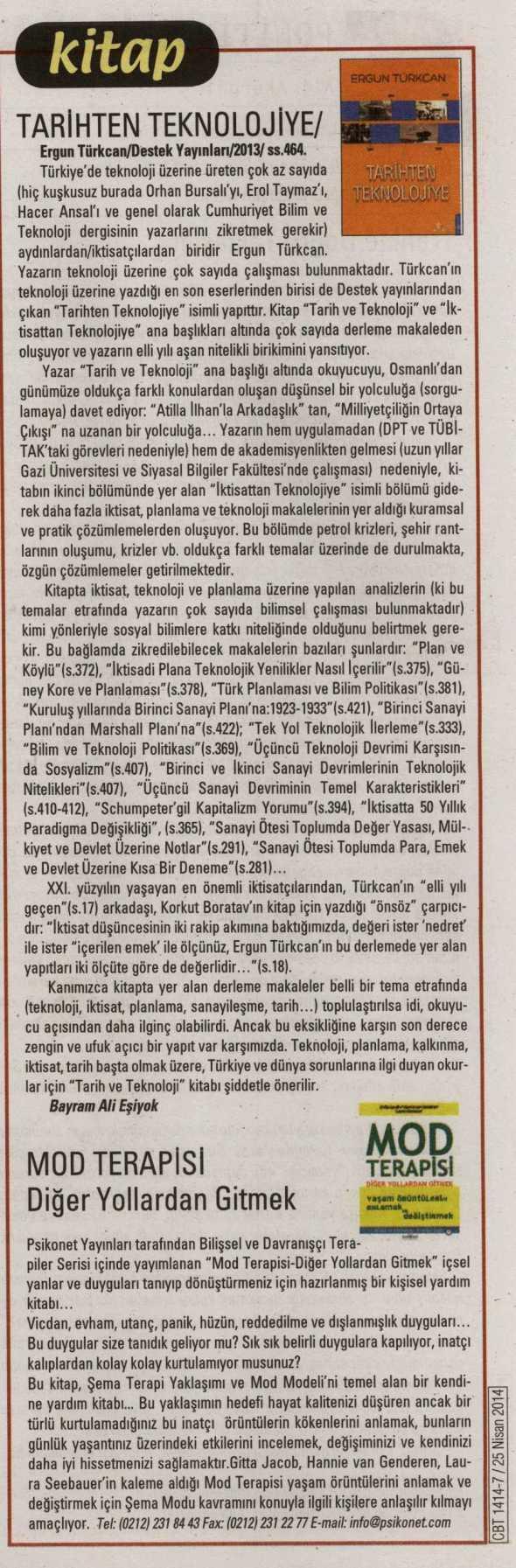 Mod Terapisi: Diğer Yollardan Gitmek - Cumhuriyet Bilim Teknik Dergisi - 25 Nisan 2014